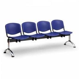 Plastové lavice ISO, 4-sedák, chrom nohy modrá