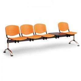 Plastové lavice ISO, 4-sedák + stolek, chrom nohy modrá