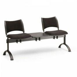 RAUMAN Čalouněné lavice SMART, 2-sedák + stolek, černé nohy šedá
