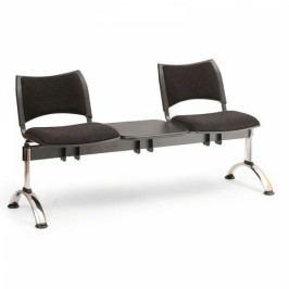 RAUMAN Čalouněné lavice SMART, 2-sedák + stolek, chromované nohy šedá