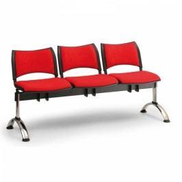 RAUMAN Čalouněné lavice SMART, 3-sedák, chromované nohy šedá