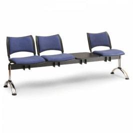 RAUMAN Čalouněné lavice SMART, 3-sedák + stolek, chromované nohy šedá