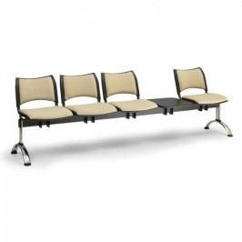 RAUMAN Čalouněné lavice SMART, 4-sedák + stolek, chromované nohy šedá