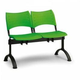 Plastové lavice VISIO, 2-sedák, černé nohy modrá