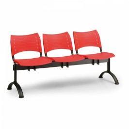 Plastové lavice VISIO, 3-sedák, černé nohy modrá