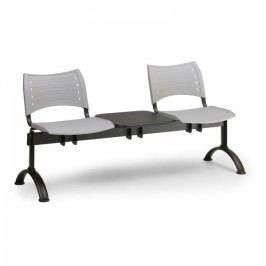 Plastové lavice VISIO, 2-sedák + stolek, černé nohy šedá