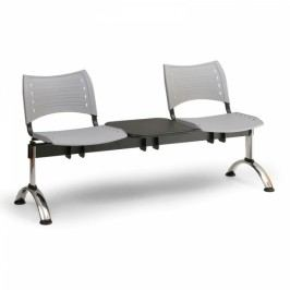 Plastové lavice VISIO, 2-sedák + stolek, chromované nohy modrá
