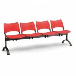 Plastové lavice VISIO, 4-sedák, černé nohy modrá