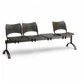 Plastové lavice VISIO, 3-sedák + stolek, černé nohy modrá