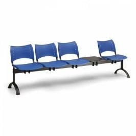 Plastové lavice VISIO, 4-sedák + stolek, černé nohy modrá