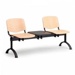 Dřevěné lavice Iso, 2-sedák + stolek, černé nohy