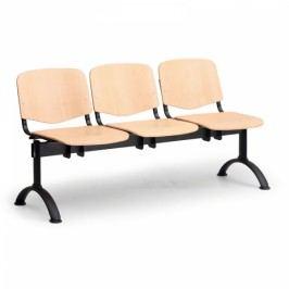 Dřevěná lavice Iso 3-sedák, černé nohy