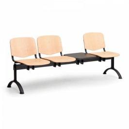 Dřevěné lavice Iso, 3-sedák + stolek, černé nohy
