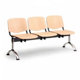 Dřevěné lavice Iso, 3-sedák, chrom nohy