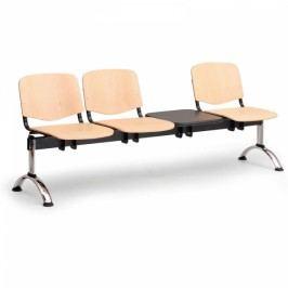 Dřevěné lavice Iso, 3-sedák + stolek, chrom nohy