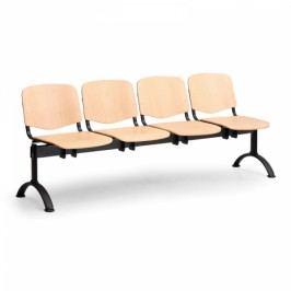 Dřevěná lavice Iso 4-sedák, černé nohy