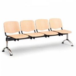 Dřevěná lavice Iso 4-sedák, chrom nohy