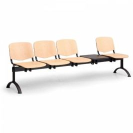 Dřevěné lavice Iso, 4-sedák + stolek, černé nohy