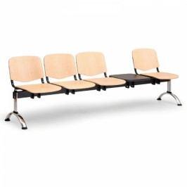 Dřevěné lavice Iso, 4-sedák + stolek, chrom nohy