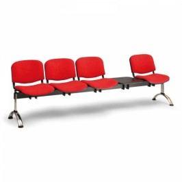 RAUMAN Čalouněné lavice VIVA, 4-sedák + stolek, chromované nohy černá