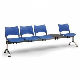 Plastové lavice VISIO, 4-sedák + stolek, chromované nohy modrá