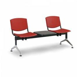 Plastové lavice Design, 2-sedák + stolek červená