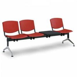Plastové lavice Design, 3-sedák + stolek červená
