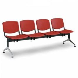 Plastové lavice Design, 4-sedák červená