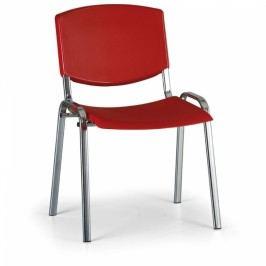 Konferenční židle Design, chromová podnož červená