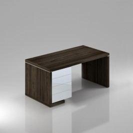 Rauman Stůl Lineart levý 160 x 85 cm + kontejner jilm tmavý / bílá