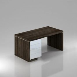 Rauman Stůl Lineart levý 180 x 85 cm + kontejner jilm tmavý / bílá