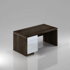 Rauman Stůl Lineart levý 200 x 85 cm + kontejner a krycí panel jilm tmavý / bílá