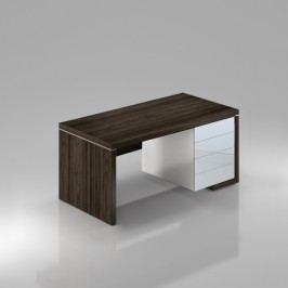 Rauman Stůl Lineart pravý 200 x 85 cm + kontejner a krycí panel jilm tmavý / bílá