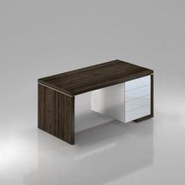 Rauman Stůl Lineart pravý 200 x 85 cm + kontejner jilm tmavý / bílá