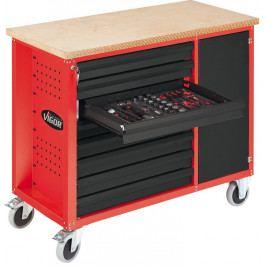 Pojízdný pracovní stůl s nářadím 347 ks VIGOR 800 červený s 8 zásuvkami - V1749 | Vigor