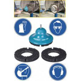 Unašeč brusného kotouče s 2ks brusných kotoučů na odstranění rzi z nábojů kol Ø 200 mm - HA143290 | Hazet