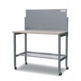 Skládací pracovní stůl s děrovanou deskou a policí 1210x595x1485 mm - AL4603   AHProfi