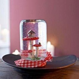 Dekorace sněžítko  muchomůrka ve skle