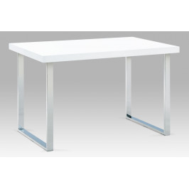 Jídelní stůl 120x75 cm, chrom / bílý lesk
