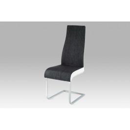 Jídelní židle chrom / látka černá / koženka bílá