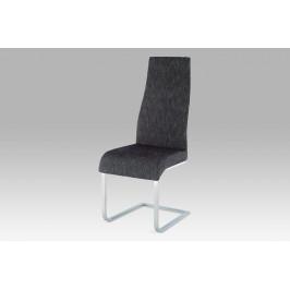 Jídelní židle chrom / látka šedo-stříbrná