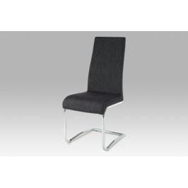 Jídelní židle chrom / látka černo-stříbrná
