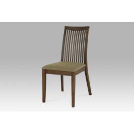 Jídelní židle, barva ořech, potah pískový