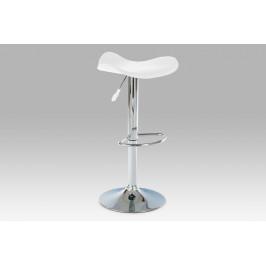 Barová židle, chrom / koženka bílá