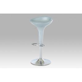 Barová židle, stříbrný plast / chrom