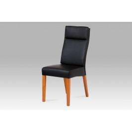 Jídelní židle, koženka černá / třešeň