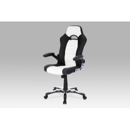 Kancelářská židle, koženka bílo-černá, houpací mechanismus