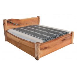 Masivní designová postel ADANA s úložným prostorem z jilmového dřeva