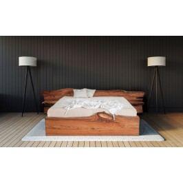 Masivní designová postel ELBA s úložným prostorem z jilmového dřeva