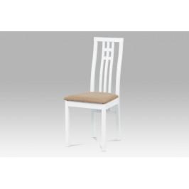 Jídelní židle masiv buk, barva bílá, potah béžový
